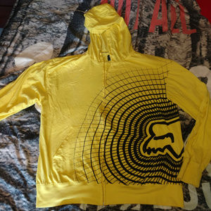 Fox Yellow Light Weight Mens Zip Up Hoodie XL